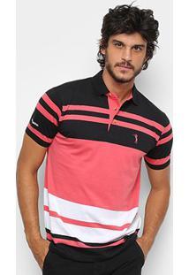Camisa Polo Aleatory Fio Tinto Listrada Masculina - Masculino-Marinho+Laranja
