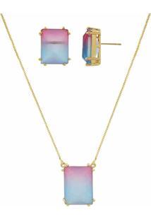 Conjunto Narcizza Semijoias Brinco E Colar Retã¢Ngulo Rainbow Cristal Multicollors Azul E Rosa Ouro - Dourado - Feminino - Dafiti
