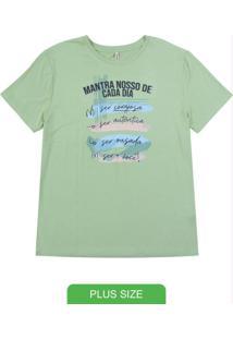 Blusa Manga Curta T-Shirt Com Estampa Verde