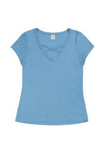 Blusa Lecimar Em Viscose Mesclada Alto Verão Azul Claro