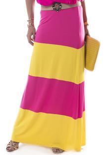 Saia Marcia Mello Longa Visco Cos Alto Pink
