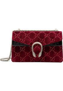 Gucci Bolsa Dionysus Gg Supreme Pequena Em Veludo - Vermelho