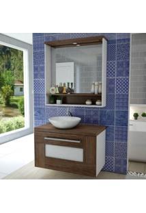 Gabinete Para Banheiro Com Espelheira Verona Siena Móveis Nogal Sevilha/Branco