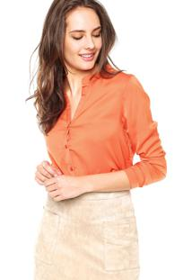 Camisa Manga Longa Colcci Acetinada Laranja