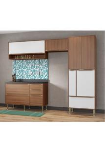 Cozinha Completa Balcão Com Tampo E Paneleiro Vidro 5 Módulos 8 Portas Madrid Siena Móveis Nogueira/Branco