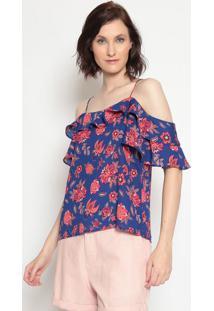 Blusa Ciganinha Floral- Azul & Rosa- Rovitexrovitex