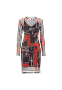 Vestido Gola Alta Com Transparência - Preto