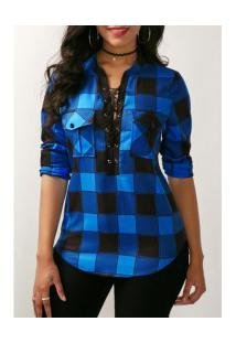 Camisa Feminina Estampa Xadrez Com Bolsos Frontal - Azul