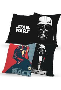 Kit 4 Capas De Almofadas Decorativas Own Star Wars Your Father 45X45 - Somente Capa