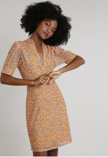 Vestido Feminino Mindset Curto Estampado Floral Em Tule Manga Curta Laranja