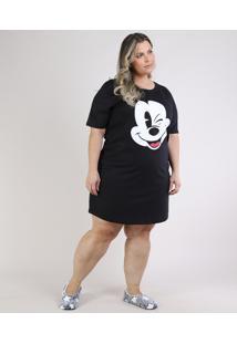 Camisola Feminina Plus Size Mickey Manga Curta Preta
