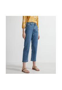 Calça Cropped Reta Em Jeans Com Cintura Alta