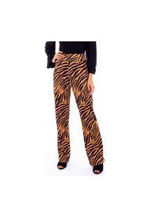Calça Flare Animal Print Zebra Mostarda