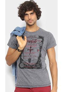 Camiseta Coca-Cola Linho Botonê Estampada Masculina - Masculino-Cinza