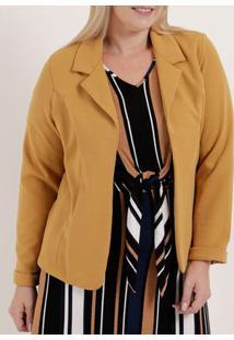 Blazer Plus Size Feminino Autentique Amarelo