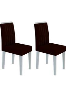 Conjunto Com 2 Cadeiras Ana Off White E Marrom Escuro