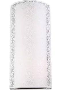 Arandela Lace Cupula Redonda Tecido Branco 2E27 40Cm Bronzearte