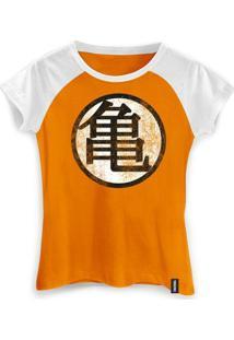 Camiseta Feminina Dragon Ball Kame Symbol - Feminino-Laranja