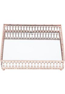 Bandeja Decorativa- Espelhada & Cobre- 17X17X3,5Cm