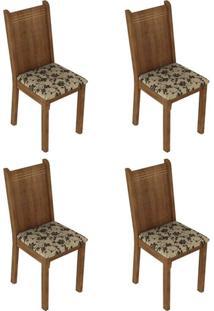 Conjunto Com 4 Cadeiras Cora Rustic E Floral