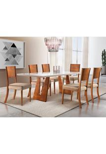 Conjunto De Mesa De Jantar Com 6 Cadeiras Escócia Veludo Veludo Off White E Bege 200 Cm