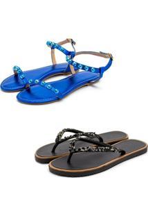Kit 2 Pares Chinelo Sandália Rasteira Feminina Conforto Fashion Azul E Preto