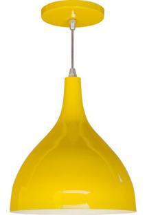 Pendente De Alumínio Grande Amarelo 27 Cm