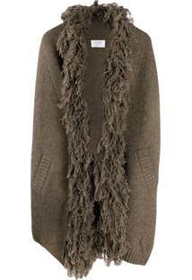 Snobby Sheep Shaggy Collar Knitted Coat - Marrom