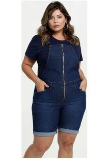 Jardineira Feminina Jeans Plus Size