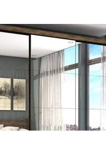 Guarda Roupa Casal 4 Espelhos 3 Portas De Correr 3 Gavetas Max Premium Espresso Móveis Demolição