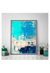 Quadro Com Moldura Chanfrada Arte Abstrata Turquesa E Azul 60X90