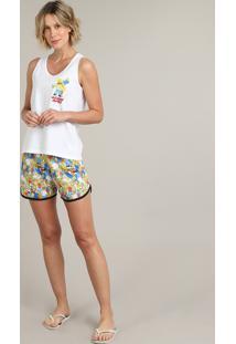 Pijama Feminino Tal Mãe Tal Filha Os Simpsons Off White