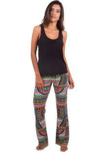 Pijama Feminino Com Estampa Africana Inspirate - Feminino-Preto+Amarelo