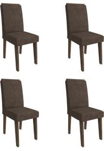 Conjunto Com 4 Cadeiras De Jantar Taís I Suede Marrocos E Cacau