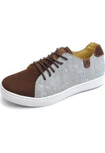 Sapatênis Casual Shoes Grand Estampado Marrom/Cinza