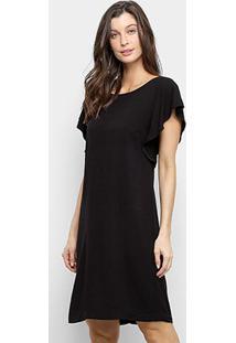 Vestido Mercatto Curto Liso - Feminino-Preto