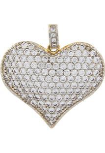 Pingente Narcizza Semijoias Coração Cravejado Com Micro Zircônia Cristal Ouro