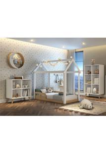 Dormitório Ravi Guarda Roupa Comoda Montessoriana Cama Casinha Montessoriana Carolina Baby Branco