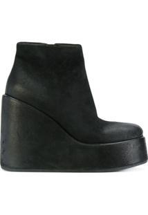 Marsèll Ankle Boot De Couro Plataforma - Preto