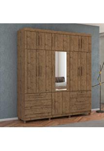 Guarda-Roupa Casal Triton Plus 11 Portas E 6 Gavetas - Móveis Albatroz - Pinus Real