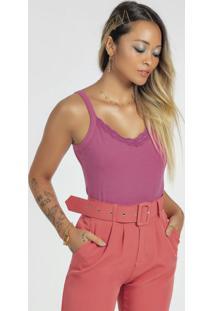 Blusa Básica Com Alça E Decote V Com Renda Rosa