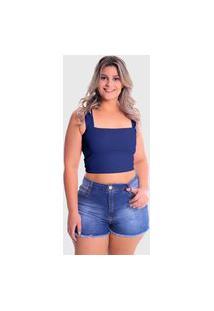 Cropped Faixa Alça Grossa Plus Size Lynnce Azul Marinho