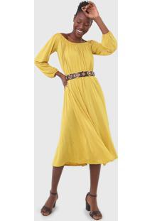 Vestido Desigual Midi Ombro A Ombro Amarelo