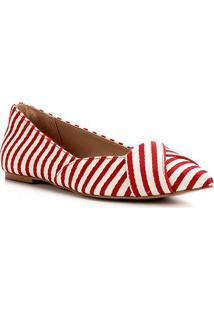 Sapatilha Shoestock Bico Fino Tecido - Feminino-Vermelho