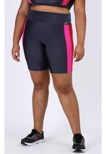 Bermuda Feminina Plus Size Esportiva Ace Cintura Alta Color Block Neon Chumbo