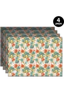Jogo Americano Mdecore Floral 40X28 Cm Rosa 4Pçs