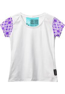 Camiseta Baby Look Feminina Algodão Estampa Manga Curta Leve Azul-Preto G Branco - Kanui