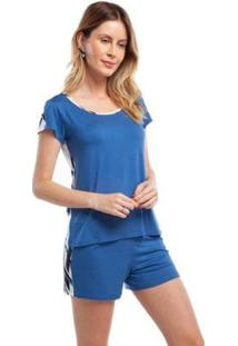 Pijama Curto Com Estampa Abstrata Feminino - Feminino-Azul