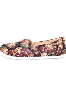 Alpargata Quality Shoes Floral Feminina - Feminino-Preto+Salmão