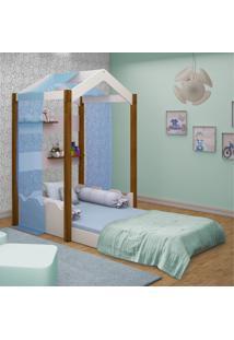 Cama Montessoriana Casa Solteiro Com Voal Azul Casah - Azul/Branco - Dafiti